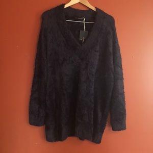 NWT Zara furry oversized navy sweater size M